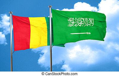 Guinea flag with Saudi Arabia flag, 3D rendering