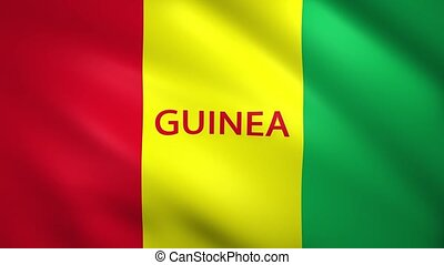 Guinea flag with the name of the country