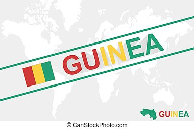 Guinea map flag and text illustration