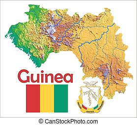 Guinea political map with capital conakry republic and vector