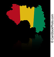 Guinea map flag with reflection illustration