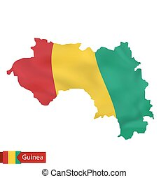 Guinea map with waving flag of country.