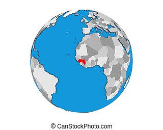 Guinea on 3D globe isolated