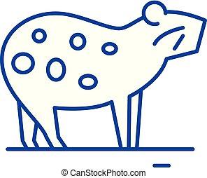 Guinea pig line icon concept. Guinea pig flat vector symbol, sign, outline illustration.