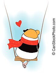 Guinea pig on the swing.