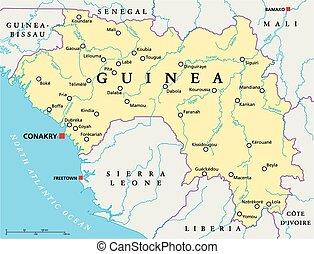 guinea, político, mapa