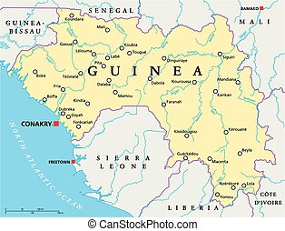 Guinea Political Map with capital Conakry, national borders, important cities, rivers and lakes. English labeling and scaling. Illustration.
