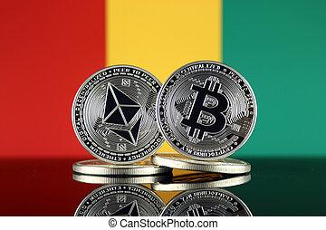 guinea, términos, versión, flag., (btc), bitcoin,...