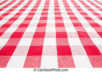guinga, cima, vacío, tabla, cubierto, mantel, rojo, vista