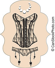 guipure, sexy, corset, s, dame