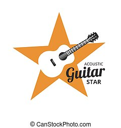 Guirat Strar - Acoustic guitar on yellow golden star. music...