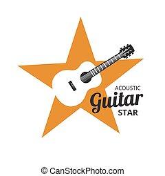 Guirat Strar - Acoustic guitar on yellow golden star. music...