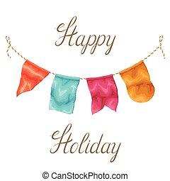guirlanda, saudação, bandeiras, feriado, cartão, feliz