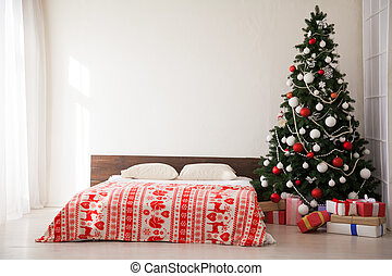 guirlande, arbre, présente, lumières, année, nouveau, noël