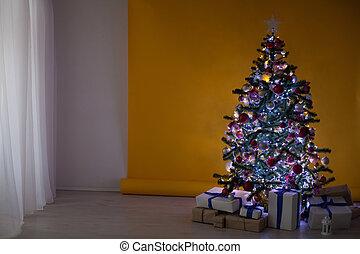 guirlande, boompje, kadootjes, lichten, jaar, nieuw, kerstmis