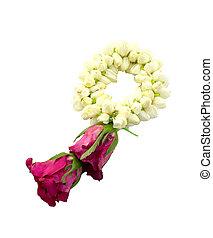 guirlande fleur, blanc, fond