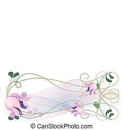 guirlande, van, roze, lelies