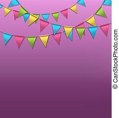 guirlandes, buntings, clair, violet, multicolore