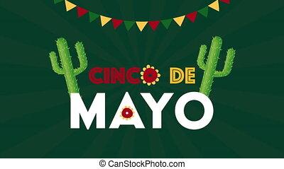 guirlandes, cinco, cactus, célébration, de, mexicain, mayonnaise