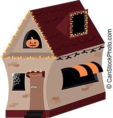 guirlandes, house., flyers., halloween, candles., potirons, bâtiment, affiches, invitations, vacances, décoré, conception