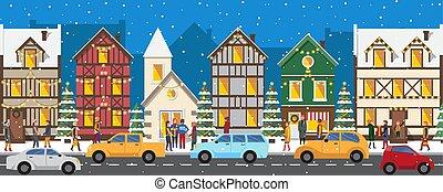guirlandes, maisons, décoré, lumineux, rang