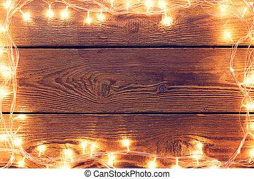 guirnalda, abrasador, de madera, foto, alrededor,...
