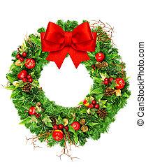 guirnalda, aislado, arco, cinta, blanco, navidad, rojo