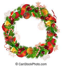guirnalda, cinta, ramas, abeto, pelotas, campanas de navidad