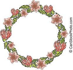 guirnalda, con, decorativo, rosa florece, y, corazones