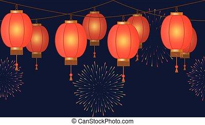 guirnalda, con, linterna china, cadena, rojo, asiático, tradicional, papel, lámparas, en, fondo oscuro, hada enciende, con, fuegos artificiales, pie página, y, bandera, para, decoración, vector