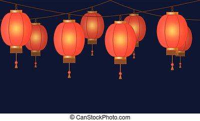 guirnalda, con, linterna china, cadena, rojo, asiático, tradicional, papel, lámparas, en, fondo oscuro, hada enciende, pie página, y, bandera, para, decoración, vector, ilustración