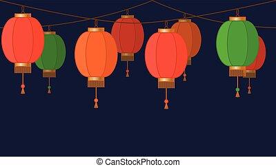 guirnalda, con, linterna china, cadena, rojo, asiático, tradicional, papel, lámparas, en, fondo oscuro, hada enciende, pie página, y, bandera, para, decoración, vector