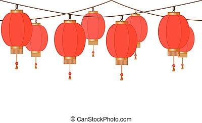 guirnalda, con, linterna china, cadena, rojo, asiático, tradicional, papel, lámparas, sin, plano de fondo, hada enciende, pie página, y, bandera, para, decoración, vector, ilustración