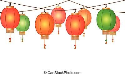 guirnalda, con, linterna china, cadena, rojo, asiático, tradicional, papel, lámparas, sin, plano de fondo, hada enciende, pie página, y, bandera, para, decoración, vector