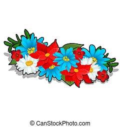 guirnalda, de, brillante, verano, flores, aislado, blanco, fondo., vector, caricatura, primer plano, illustration.