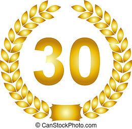 guirnalda, dorado, 30, laurel, años