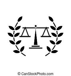 guirnalda, escala, estilo, corona, balance, silueta, icono