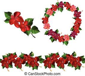guirnalda, Florecer,  patttern, rama, cepillo, Interminable, redondo, rojo, Hibisco