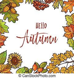 guirnalda, fondo., o, redondo, hojas, marco, otoñal, otoño, ...