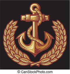 guirnalda laurel, insignia, ancla