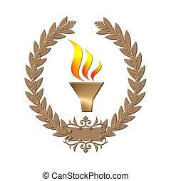 guirnalda laurel, llama, bronce