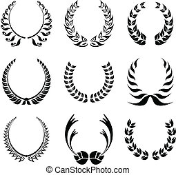 guirnalda laurel, símbolo, conjunto