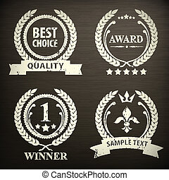 guirnalda, negro, conjunto, emblema, laurel