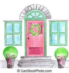 guirnalda, puerta, navidad