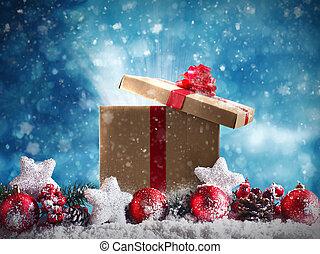 guirnalda, rojo, estrellas, pelotas, presente navidad