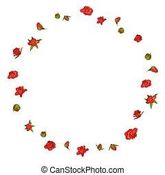 guirnalda, rosa, floral