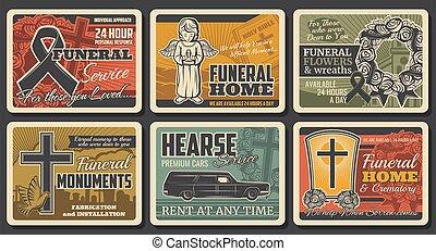 guirnalda, tumbas, carteles, rasgón, funeral, servicio