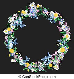 guirnalda, wildflowers, colorido