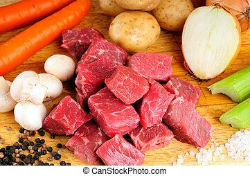 guisado, carne de vaca, ingredientes