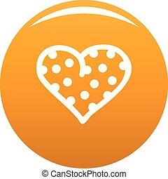 guisante, corazón, icono, vector, naranja